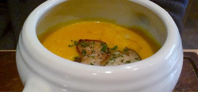 Pumpkin and parsnip soup with ceps and truffle oil