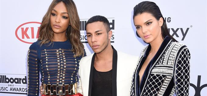 Oliver Rousteing with Jourdan Dunn and Kendall Jenner