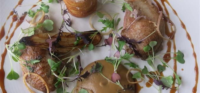 poached and roasted Norfolk quail