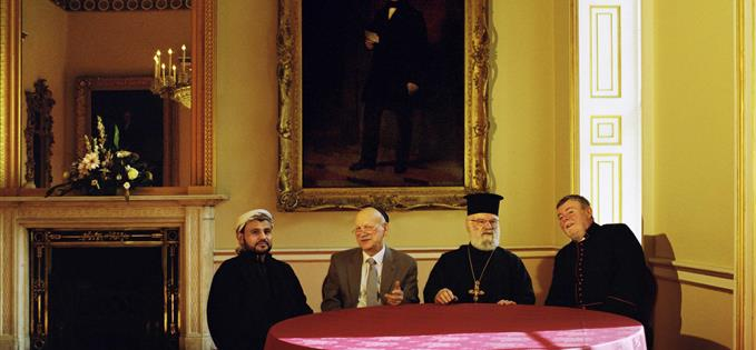 Imam Mohammed Alawi, Dr Peter Grant, Father Iakovos Kasinos, Reverend Canon Bob Lewis at Liverpool Town Hall