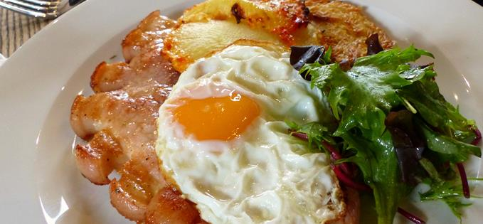 OLD SPOT DRY AGED GAMMON STEAK - £13.95  Cider, mustard & sugar glaze - crispy potato, chilli pineapple & dippy egg