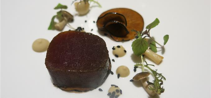 Marinated tuna, pickled mushroom