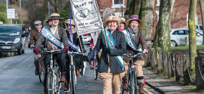 The bike ride celebrated the Manchesters suffrage history