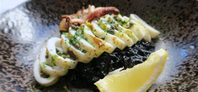 Squid with black ink rice