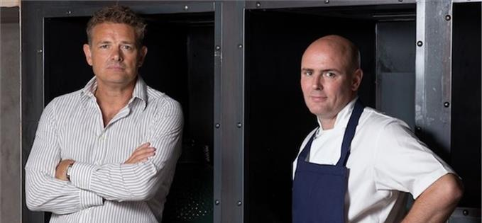 Tim Bacon with Manchester House chef, Aiden Byrne