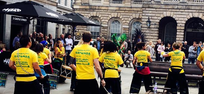 Samba on Castle Street at the launch of Santa Maluca