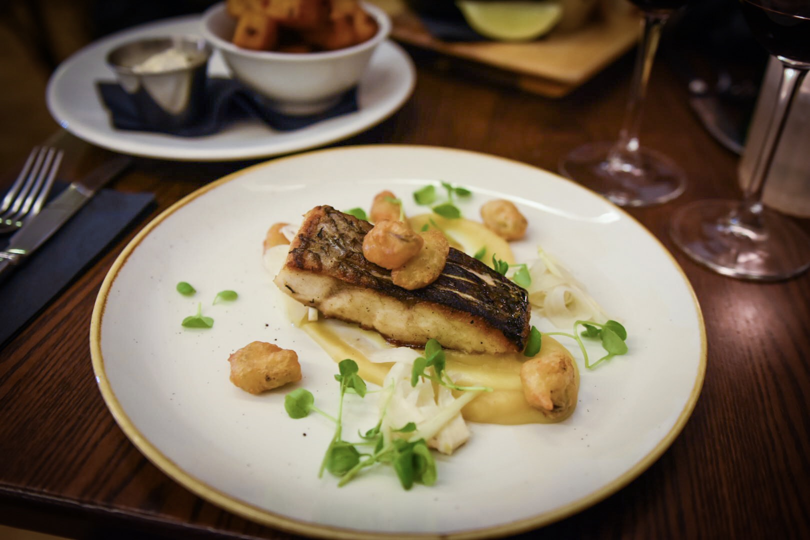 Stone Bass with Tempura Mussels
