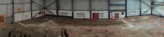 The space inside the former canning plant is the size of an aircraft hangar
