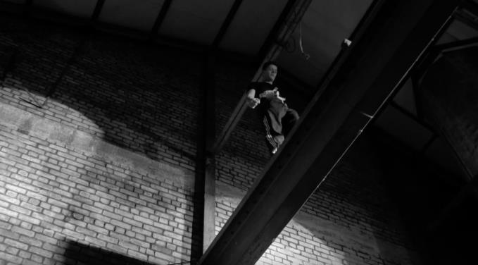Hiball glass for that? Ricky Squires walks tall on a girder 30ft  above the Camp & Furnace tables