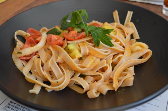 Spelt Tagliatelle with Squid, Courgette and Cherry Tomatoes
