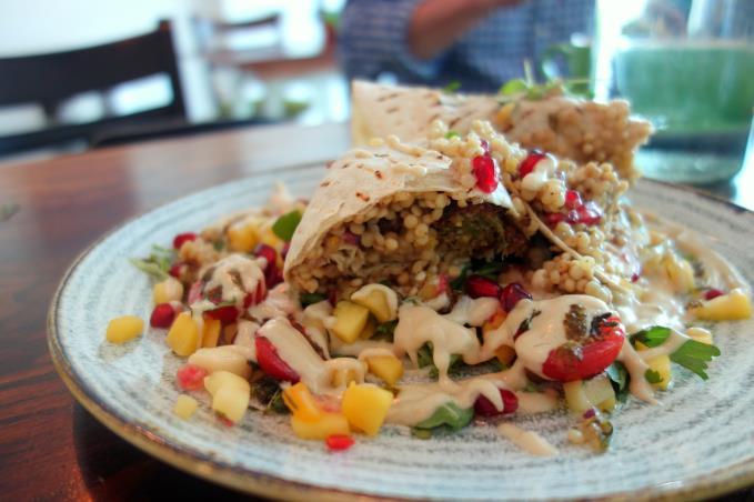 falafel and couscous wrap