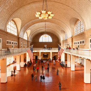 The great hall at Ellis Island: the first New World soil for millions who last stood on dry land in Liverpool