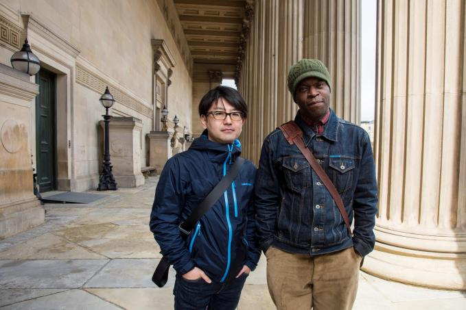 Koki Tanaka_with_Emeka_Onoura, orginal particpant of the Youth Training Scheme Protest in Liverpool. Photo Mark McNulty. Image courtesy of Liverpool Biennial.jpg