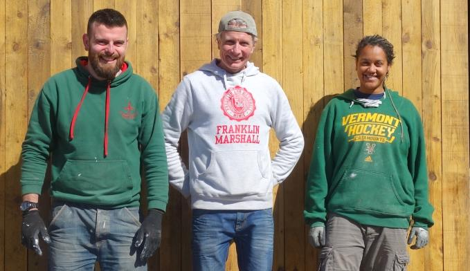 All their own work: Don, Ian and Tasha transformed a couple of dusty rooms at Cains Brewery into Ryde