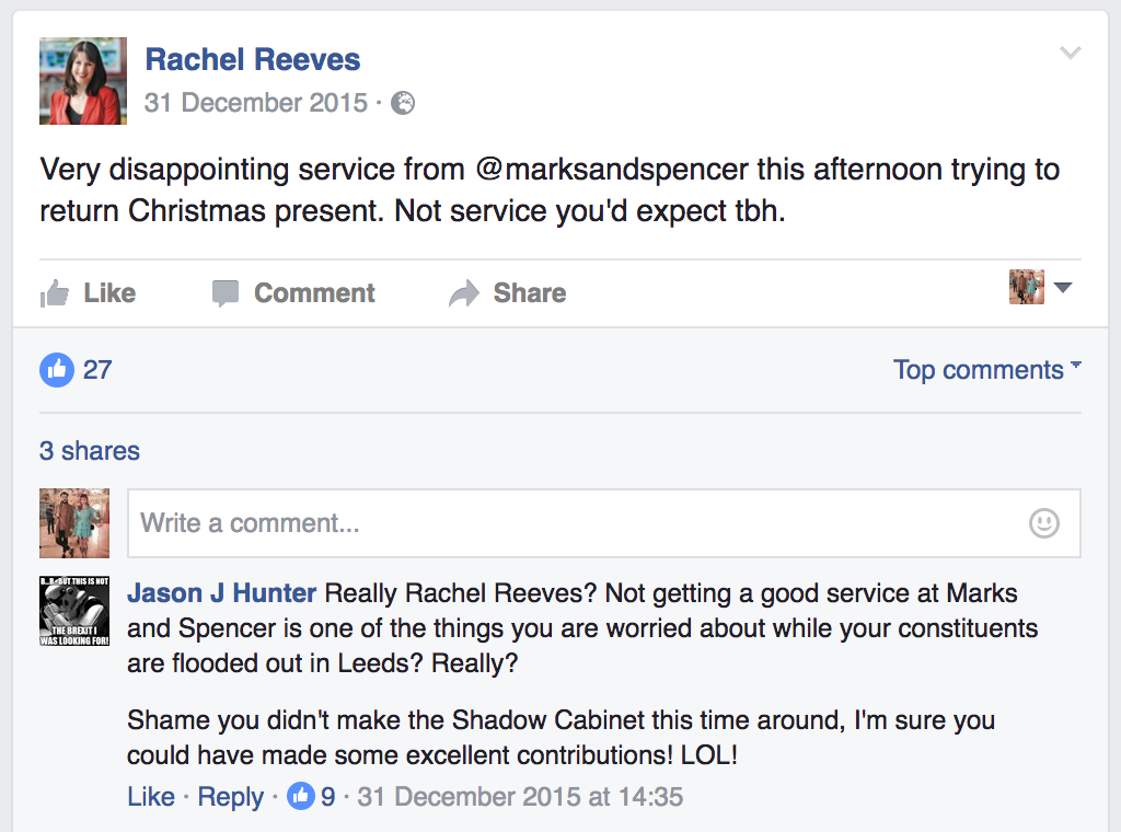 Reeves complains about M&S service during Kirkstall flood repair efforts