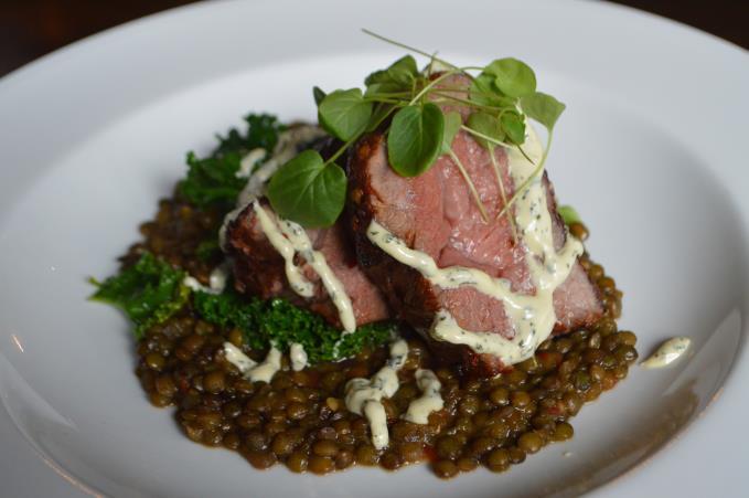 Lamb rump and lentils