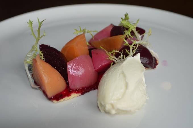 beetroot tart with whipped goats curd, apple and hazelnuts