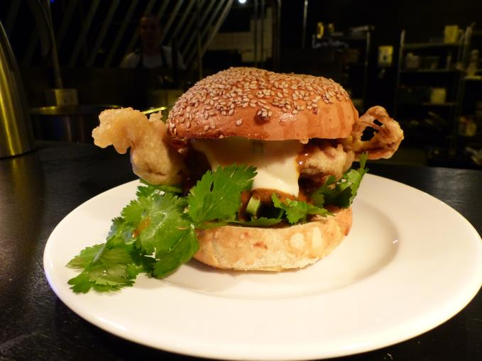 Soft shell crab burger with curry sauce