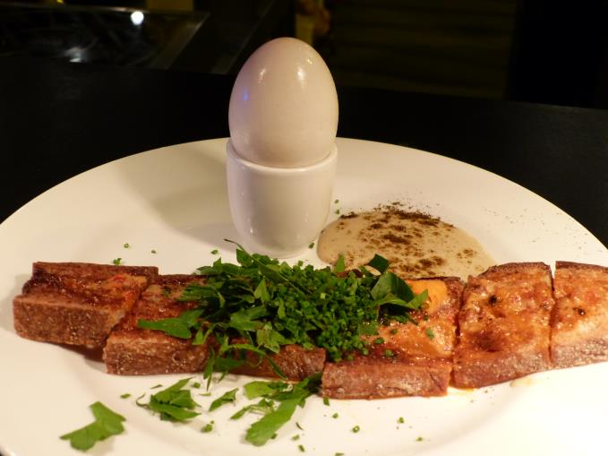 Truffled dick egg, nduja, anchovy and toast