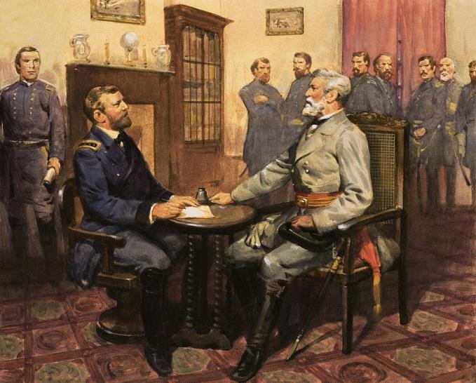 Grant on the left, Lee on the right at Appomattox