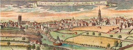 Part of the Berry map of Manchester 1750, showing inset view of Manchester and Salford