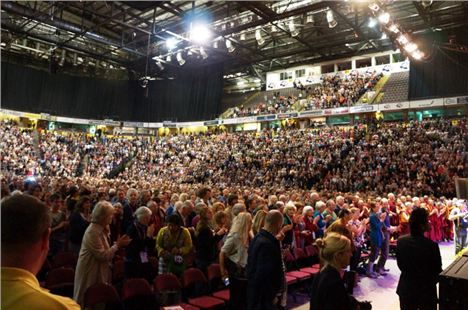 A packed Manchester Arena for His Holiness The 14th Dalai Lama Of Tibet