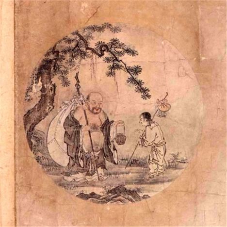 The last of the 'Ten Ox-herding Pictures' of Zen Buddhism - Return to Society