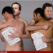 Going too far: Man hugs from Cameron and Clegg