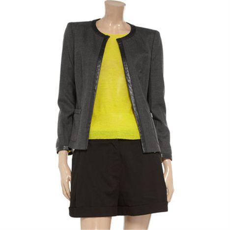 DKNY Leather Trim Pinstripe Jacket