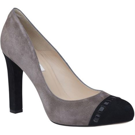 LK Bennett Mara Suede Stitched Toecap Court Shoes, Smoky Quartz