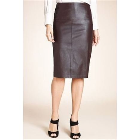 M&S Oxblood Leather Panelled Pencil Skirt