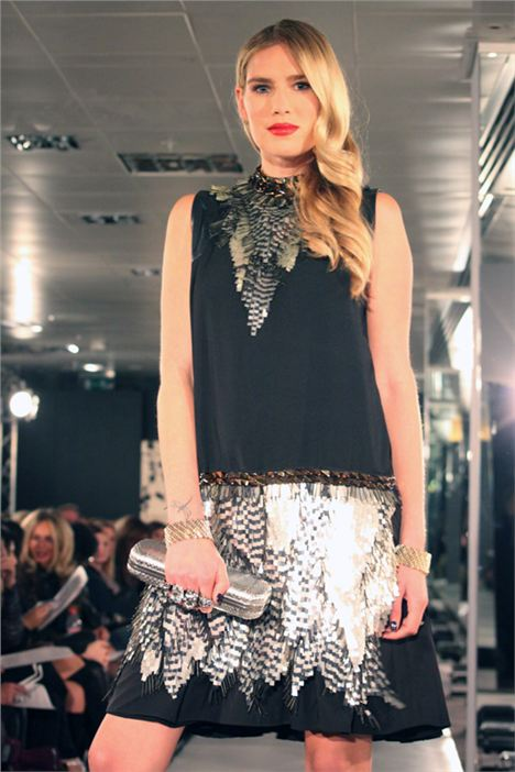 Just Cavalli Dress £1245 Alexander McQueen Clutch £1125 Alice Menter Cuffs £210 Each