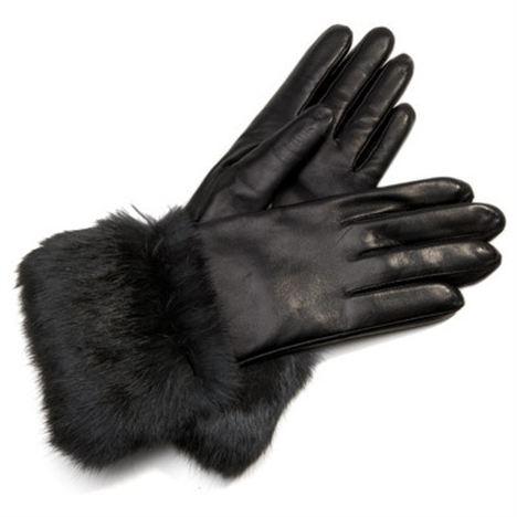 Black Nappa Leather Fur Trimmed Gloves