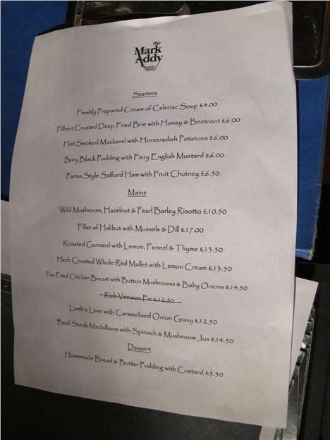 Special's menu