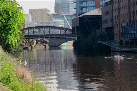 In the far distance the Mark Addy terrace and now clean waters of the River Irwell
