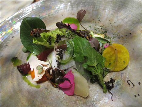 Early spring offerings, vegetables, beetroot, flowers, lovage salt