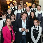 Stephanie Cannell-Corcoran, General Manager Of Hotel Indigo, With Marco And Staff