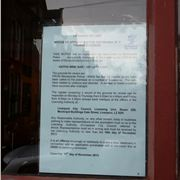 The police notice in Keith's window. Click to read full size