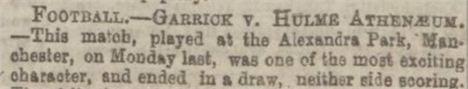 1872 Hulme Athenaeum V Garrick At Alexandra Park