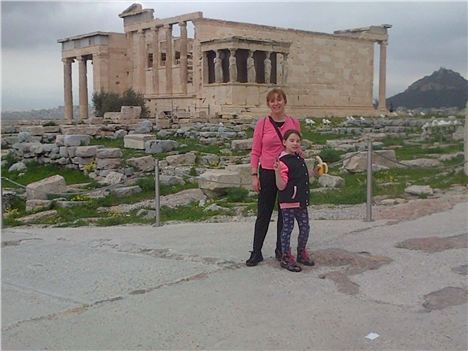 Angela With Daughter Sophie At The Acropolis