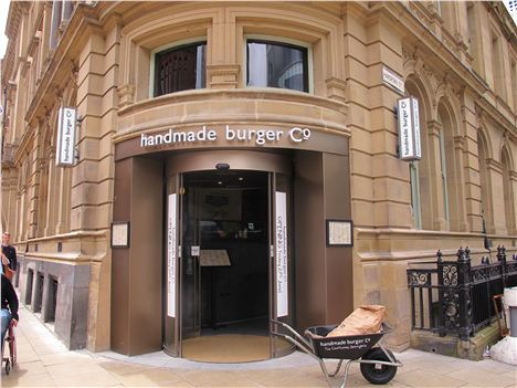 Handmade Burger Co, the wheelbarrow means something but we know not what