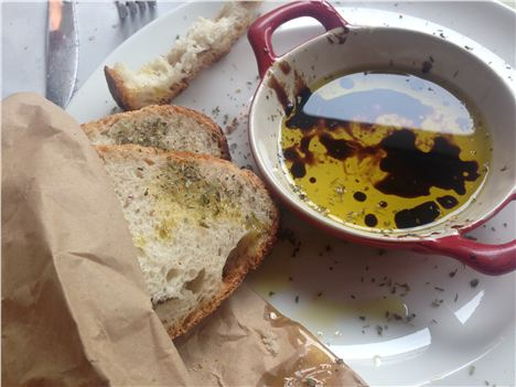 Bread and oil - already somewhat chewed