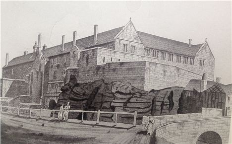 The view of Chetham's before the Palatine got in the way by John Palmer in 1815