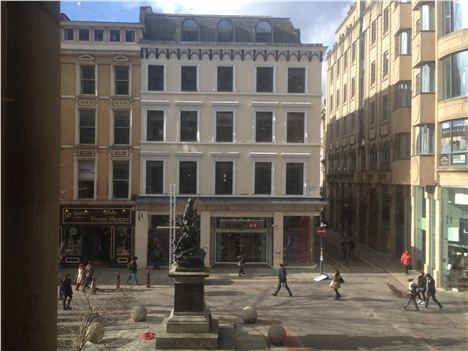 The view of St Ann's Square from the Royal Exchange